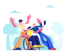 Group of Friends with Disabled Man in Wheelchair in Center Making Selfie Outdoors. Friendship, Human Relations, Cheerful Male Characters Taking Picture on Phone Camera Cartoon Flat Vector Illustration