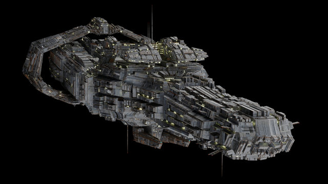 Battleship Spaceship - Front quarter view.