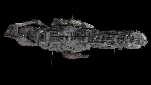 Battleship Spaceship - side view.
