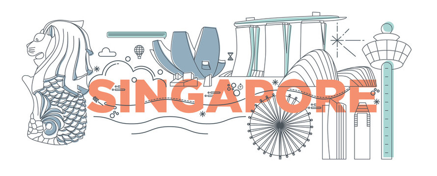 Typography word Singapore branding technology concept. Collection of flat vector web icons. Asian culture travel set, architectures, specialties detailed silhouette. Doodle Malaysia famous landmarks.