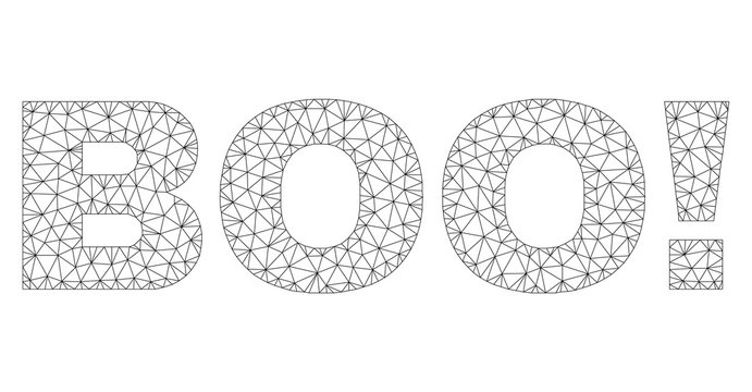 Mesh vector BOO! text caption. Abstract lines and small circles are organized into BOO! black carcass symbols. Linear carcass 2D triangular mesh in vector EPS format.