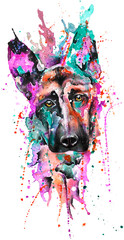 Handdrawn Aquarell Dog Portrait, Colorful Rainbow, Frontal, Cute,, Watercolor, Animal, Nature