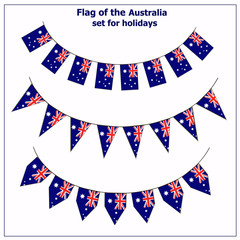 Bright set with flags of Australia for holidays. Happy Australia day background. Illustration with white background.