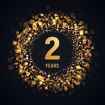 2 years anniversary isolated vector design element. Two birthday logo with blurred light effect on dark background