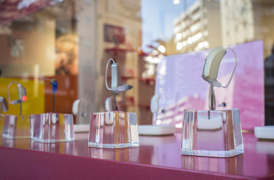 Modern Hearing aid devices displayed at shop