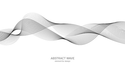 In de dag Abstract wave Abstract wave element for design. Digital frequency track equalizer. Stylized line art background. Vector illustration. Wave with lines created using blend tool. Curved wavy line, smooth stripe.