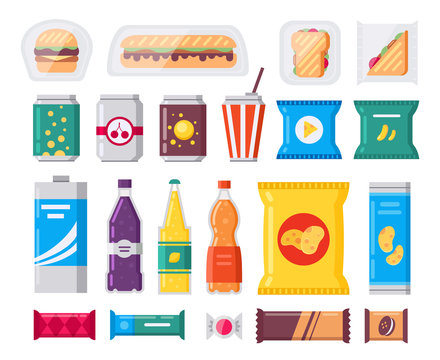 Fast food snack and drink pack, vector icons set in flat style. Vending products collection. Snacks, drinks, chips, cracker, coffee, sandwich isolated on white background.