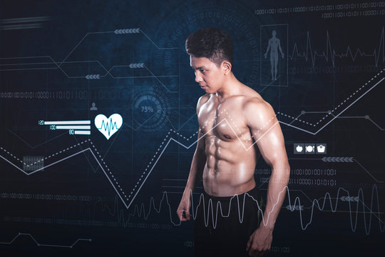 Muscled man stands with virtual screen background