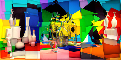 Abstract collage with vases and glass bottles