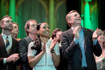 Swedish Green Party (Miljoepartiet) candidate Alice Bah Kuhnke and Per Bolund, Minister for Financial Markets and Housing, applaud at the party's election night watch party as first preliminary results in the European Parliament elections