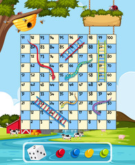 Farm snake ladder game template