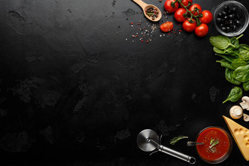Pizza Cooking Ingredients On Black Background, Top View