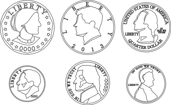 US American cent coin outline set