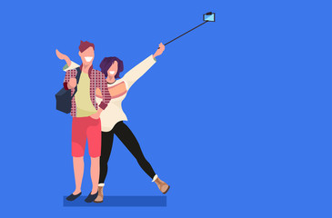 Wall Mural - couple taking selfie photo on smartphone camera man woman standing together female male cartoon characters posing flat full length horizontal
