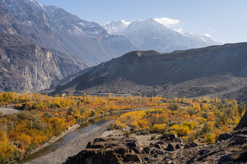 Poster Hill Autumn in Ghizer valley, Hindu Gush mountain range, Pakistan