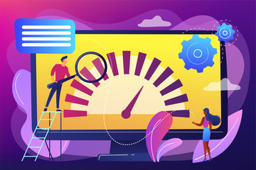 Tiny business people look at product performance indicator. Benchmark testing, benchmarking software, product performance indicator concept. Bright vibrant violet vector isolated illustration