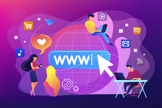 Tiny business people with digital devices at big globe surfing internet. Internet addiction, real-life substitution, living online disorder concept. Bright vibrant violet vector isolated illustration