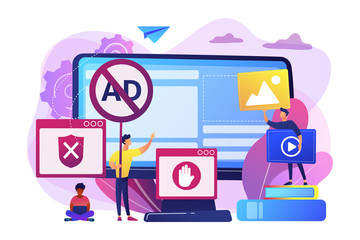 Programmer developing anti virus program. Banned Internet content. Ad blocking software, removing online advertising, ad filtering tools concept. Bright vibrant violet vector isolated illustration