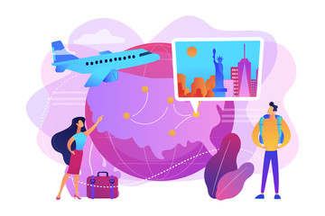 Couple going on holiday vacation, around world journey. Travel agency tour. Inside country traveling, local tourism, learn your country concept. Bright vibrant violet vector isolated illustration