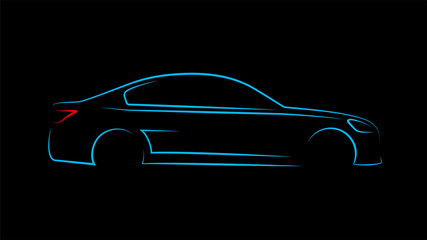 Modern car silhouette in side view. Blue neon car silhouette for logo, banner or marketing advertising design. Vector illustration. Wall mural