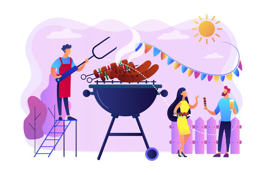 Neighbours flat characters grilling sausages. People eating, having picnic on nature. Backyard party, backyard BBQ, friends party ideas concept. Bright vibrant violet vector isolated illustration