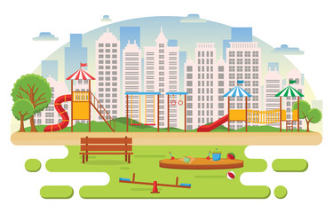 City Park in Summer with Kid Playground Playing Equipment Illustration
