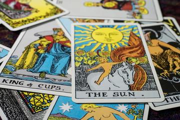 "Chainat Province, Thailand, April 5, 2019. illustrative editorial tarot cards ""THE SUN ."""