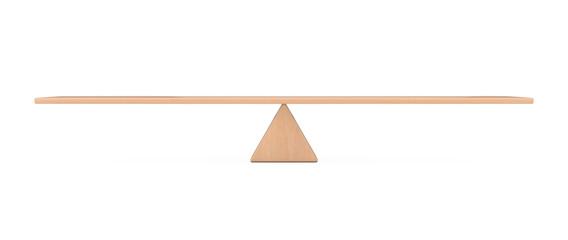 Balance Concept. Wooden Board Plank Balancing