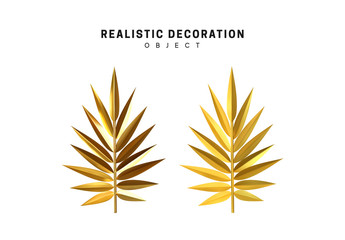set of golden palm branches in 3d, metallic illustration design isolated on white background. branch gold leaves . Vector graphics Wall mural
