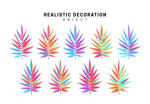 set of gradient palm branches in 3d, Color blue and pink illustration design isolated on white background. branch hologram leaves. Vector graphics
