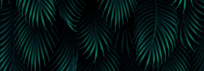 Branch palm realistic. Leaves and branches of palm trees. Tropical leaf background. Green foliage, tropic leaves pattern. horizontal website header. vector illustration
