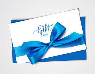Decorative white gift card design template with blue bow and ribbon. Vector illustration