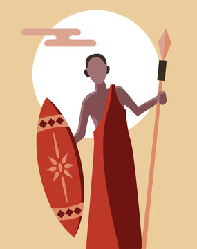 African tribal masai warrior standing confidently with spear