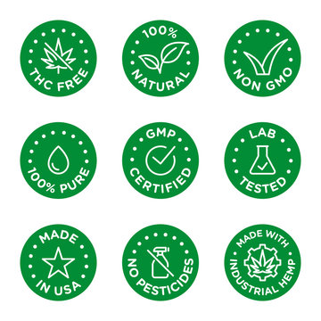 CBD oil icons set including THC free, 100% natural, non GMO, 100% pure, GMP certified, lab tested,  made in USA, no pesticides, made with industrial hemp - Vector
