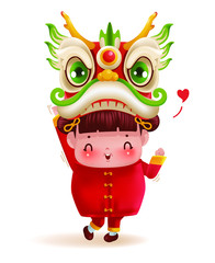 Little girl and dragon dance head. Children personality in red cheongsam dress. Cute traditional. Chinese New Year.  Cartoon vector illustration isolated on a white background.