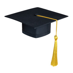 Graduation hat, Academic cap or Mortarboard in black isolated on white background (clipping path) for educational hat design mockup and school commencement hat mock-up template