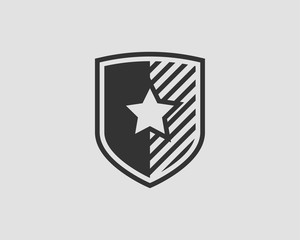 Shield vector logo with star icon