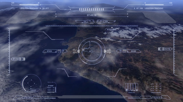 Aerial view HUD digital futuristic surveillance monitor screen display. Hi technology satellite crosshairs target flying scanning for security mission UAV attack imitation inspiration concept.