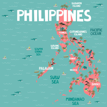 Illustrated map of Philippines with cities and landmarks. Editable vector illustration