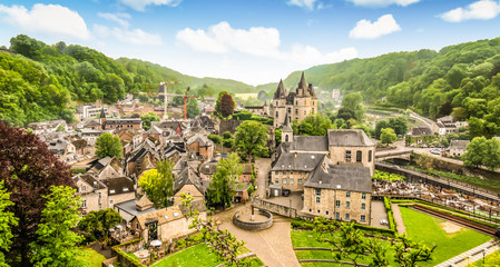 Panoramic landscape of Durbuy, Belgium. Smallest city in the world. Wall mural