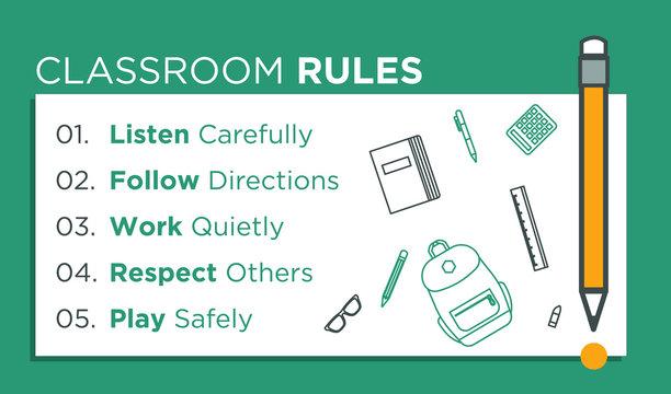 Classroom Rules. Kids Education. Vector Illustration