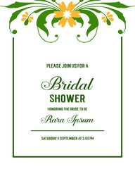 Wall Murals Retro sign Vector illustration bridal shower with leaf flower frames isolated on white backdrop