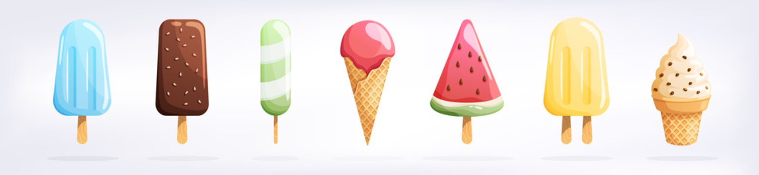 Ice cream set isolated on a white background. Summer colorful background. Tasty cute appetizing food collection. Simple realistic modern design. Flat style vector illustration.
