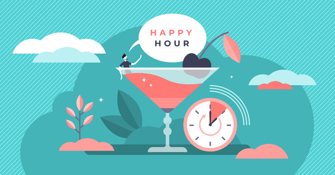 Happy hour vector illustration. Flat tiny free alcohol time persons concept