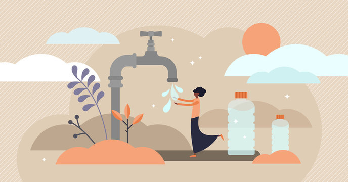 Drinking water vector illustration. Flat tiny Africa potable person concept