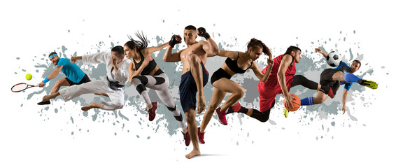 Sport collage. Tennis, soccer, karate, MMA fighter and basketball players