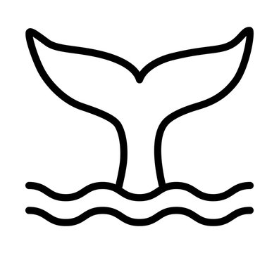 Whale tail or mermaid tail making waves line art vector icon for wildlife apps and websites