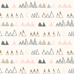 Triangles or stylized mountains. Hand drawn vector geometric seamless pattern in pastel colors.
