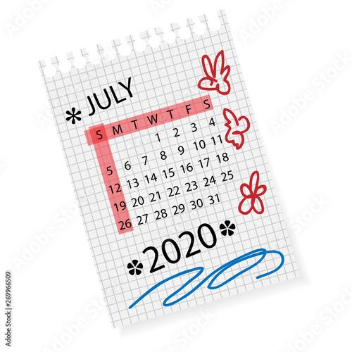 Calendar for July 2020  Vector calendar template on