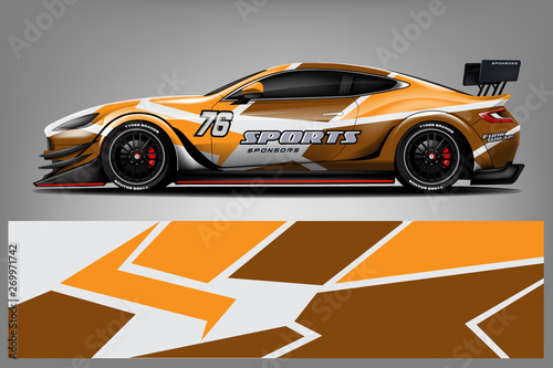 Sport Car wrap design vector, truck and cargo van decal